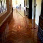 over a hundred years old, Herring bone tiger oak flooring. beautifully  restored in a wax finish.